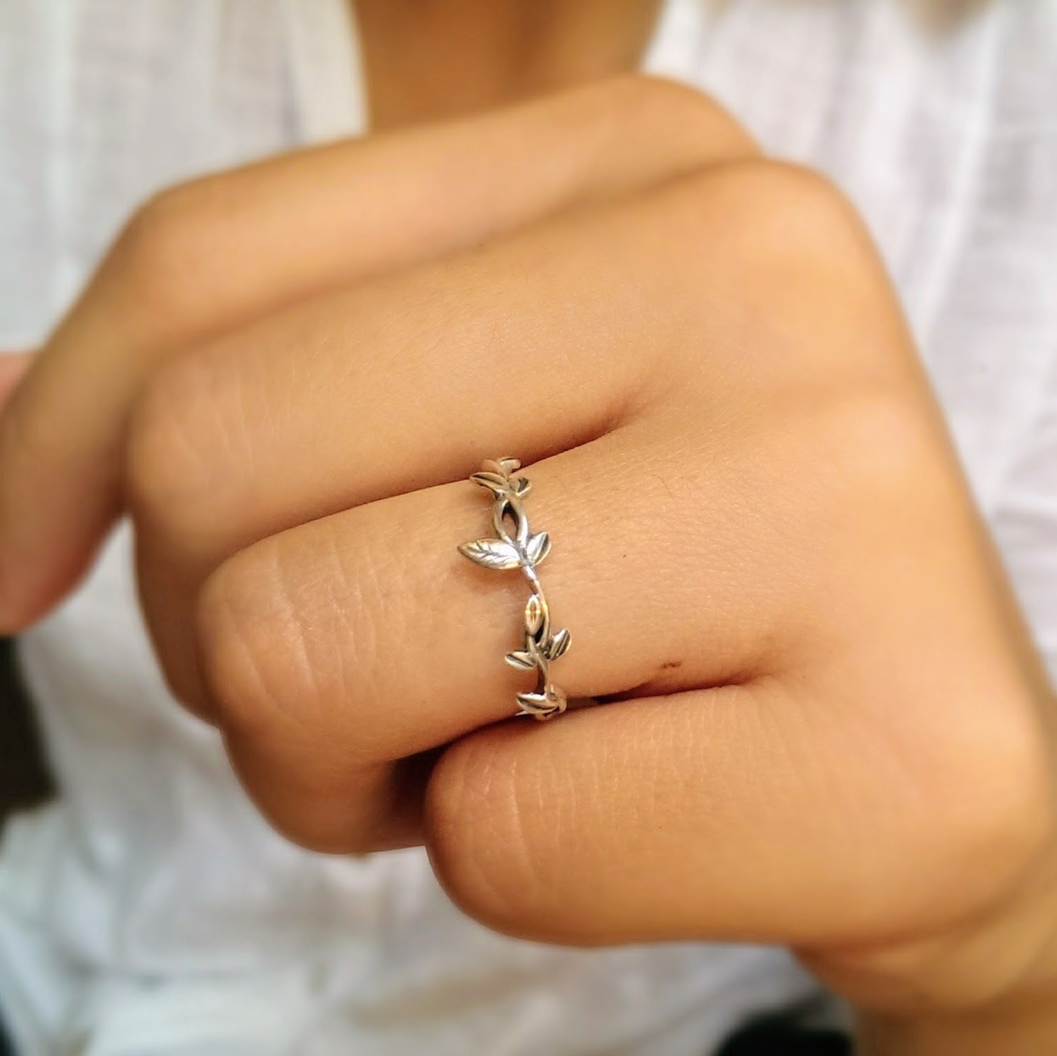Sterling Silver Dainty Vine Leaf Ring, Sizes 4.5-9 US, Delicate Silver Ring