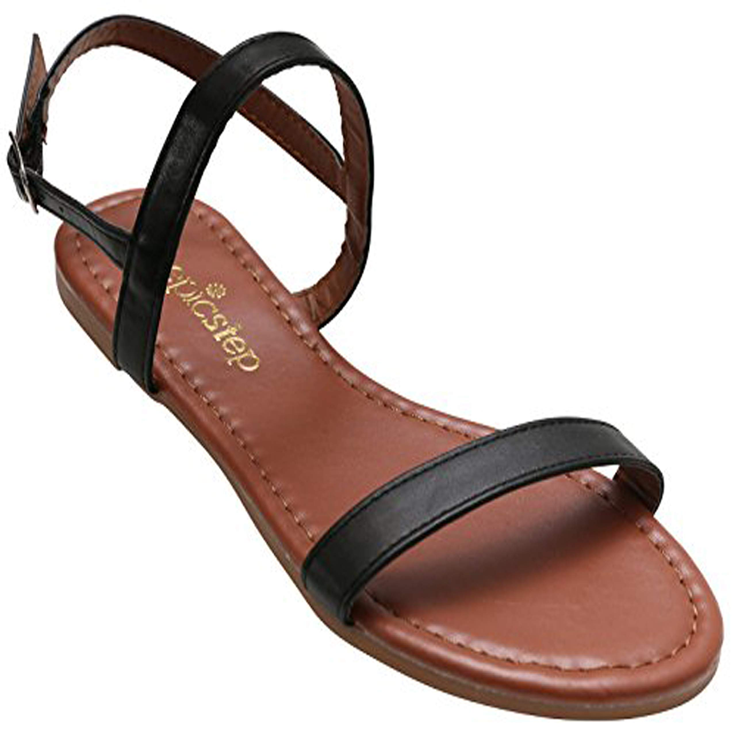 Womens Sandals, Double Strap, Open Toe Flat Summer Sandals for Women, Shoes for Ladies (8, Black)