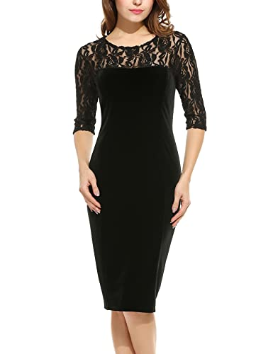 Angvns Women's Floral Lace 3/4 Sleeve Elegant Party Cocktail Bodycon Dress