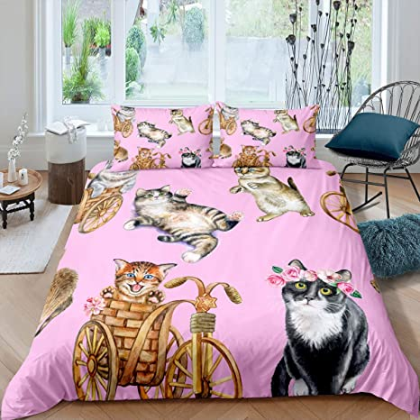 Amazon Com Funny Cat Bedding Duvet Cover Set For Little Girls Boys Kids Bedroom Child Pet Cats Pattern Comforter Cover 3d Animal Nature Gardern Farmhouse Style Quilt Cover Decor 3 Pcs Queen Size Home