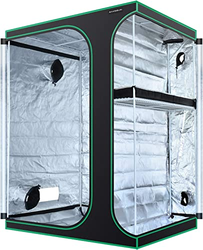 MAXSISUN 2-in-1 5×4 Grow Tent 600D Mylar Hydroponic Indoor Plants Growing Tent with Observation Window and Floor Tray 60x48x80 Grow Cabinet Multi-Chamber Space from Seeding to Harvests