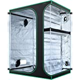 MAXSISUN 2-in-1 5x4 Grow Tent 600D Mylar Hydroponic Indoor Plants Growing Tent with Observation Window and Floor Tray 60x48x8