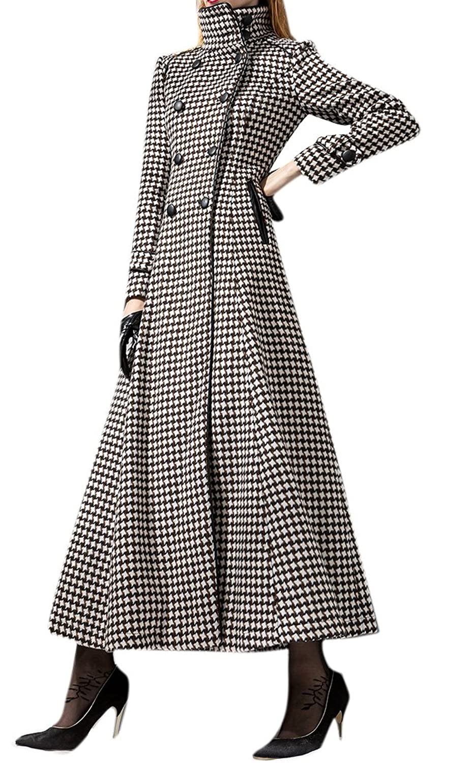 Allbebe Women's Winter Maxi Trenchcoats Pea Wool Coat Parka Long Jacket