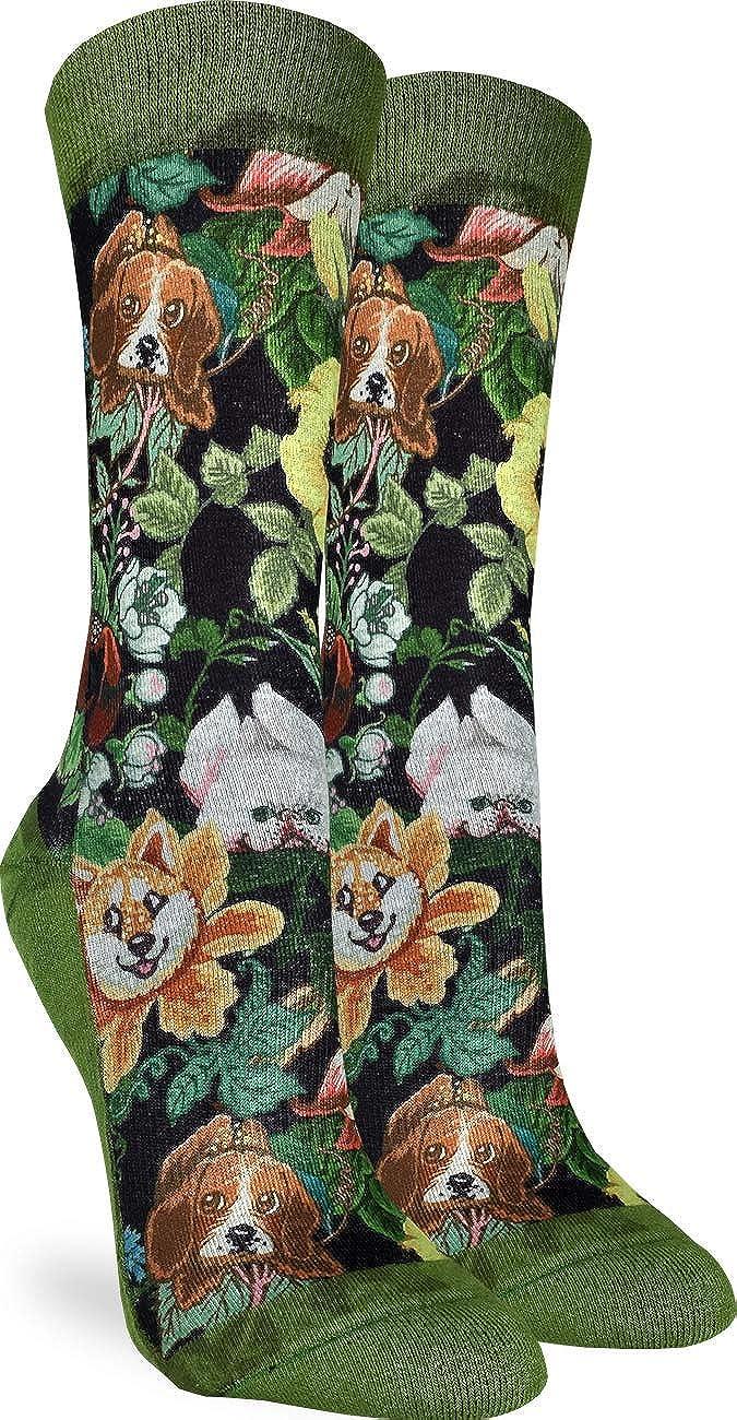 Good Luck Sock Women's Floral Dogs Socks - Green, Adult Shoe Size 5-9