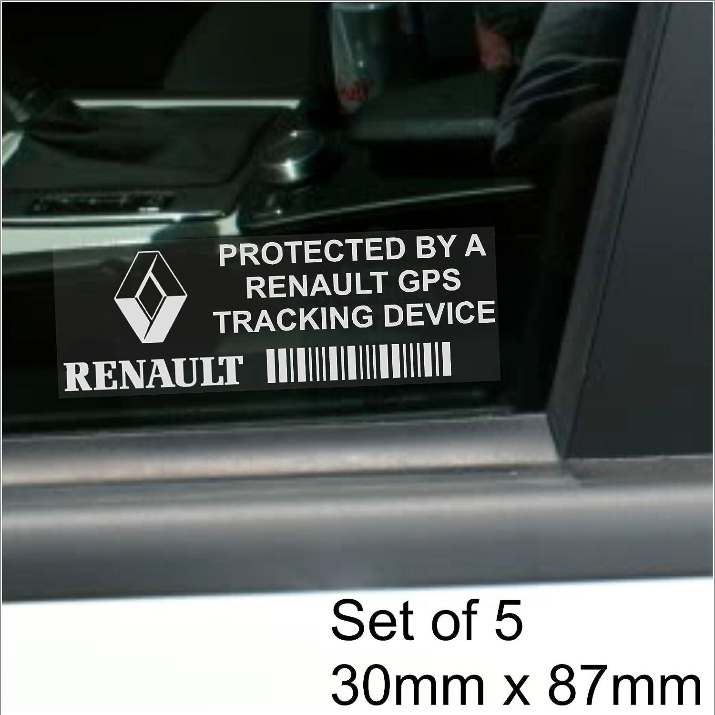 Platinum Place - Pegatina para coche con advertencia de seguimiento por GPS (5 unidades, 87 x 30 mm, para Renault Clio, Megane, Twingo, Laguna, Scénic, ...