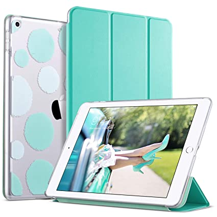 check out e7a8d e3c06 ULAK iPad 2017/2018 iPad 9.7 inch Case, Slim Lightweight Smart Case Trifold  Stand with Auto Sleep/Wake Function,Hard Back Clear Polka Dot Cover for ...