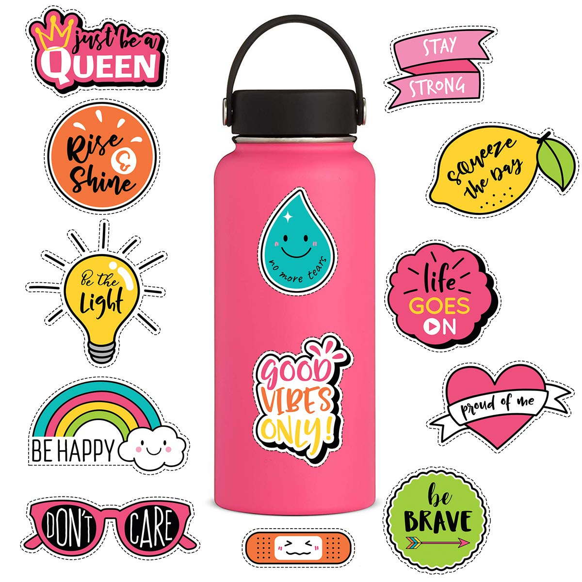 Cute laptop stickers for girls13pcs lovely feminists brave proud queen happy vinyl sticker for graffiti decorating water bottles hydroflasks macbook