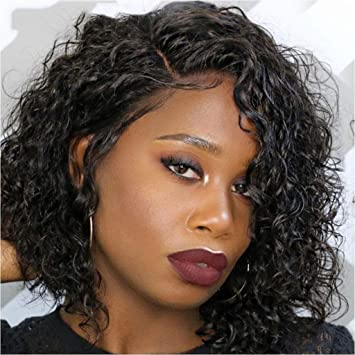 Youdo Side Part Human Hair Curly Bob Wig With Baby Hair Pre Plucked Bleached Knots Lace Front 150