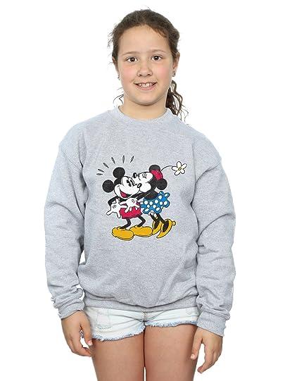 f45159bf53 Amazon.com: Disney Girls Mickey Mouse Mickey and Minnie Kiss Sweatshirt:  Clothing