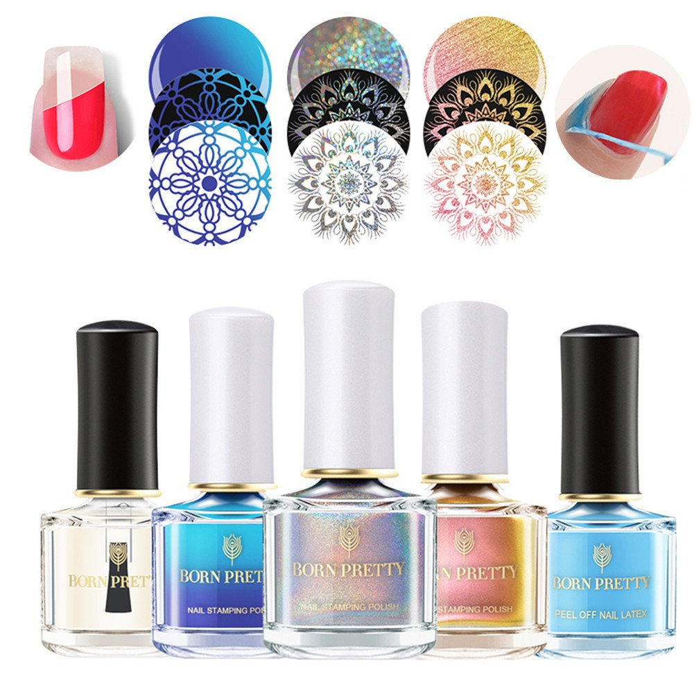 BORN PRETTY 6ml Nail Art Stamping Polish 3 Colors Set - Holographic Chameleon Thermal Manicure Plate Printing Lacquer Varnish Kits