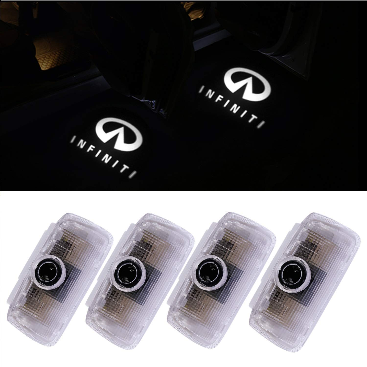 4 PCS Infiniti Q50 Accessories Door Logo Led Lights Projector Welcome Ghost Shadow Light for Infiniti EX FX G Q50 Q70 QX70 QX50 QX80 Door Lights CHUNLING