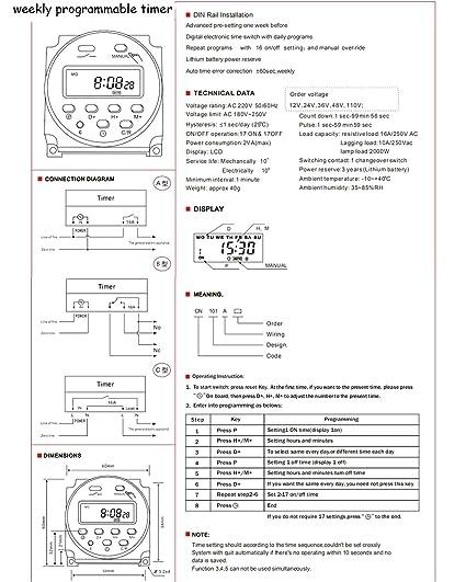 Interruptor de temporizador de 12 V a 24 V CC temporizador programable dos voltajes de trabajo interruptor de fotos interruptor de temporizador DPDT rel/é programable TAOLEI