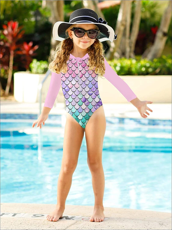 1-6Y uideazone Girls Long Sleeve One Piece Swimsuit Zipper Rashguard Swimwear UPF 50