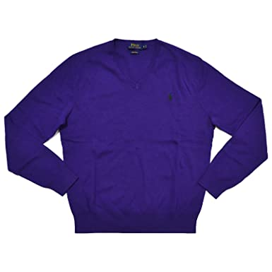 Polo Ralph Lauren Mens Pima Cotton V-Neck Sweater (Squire Purple ...