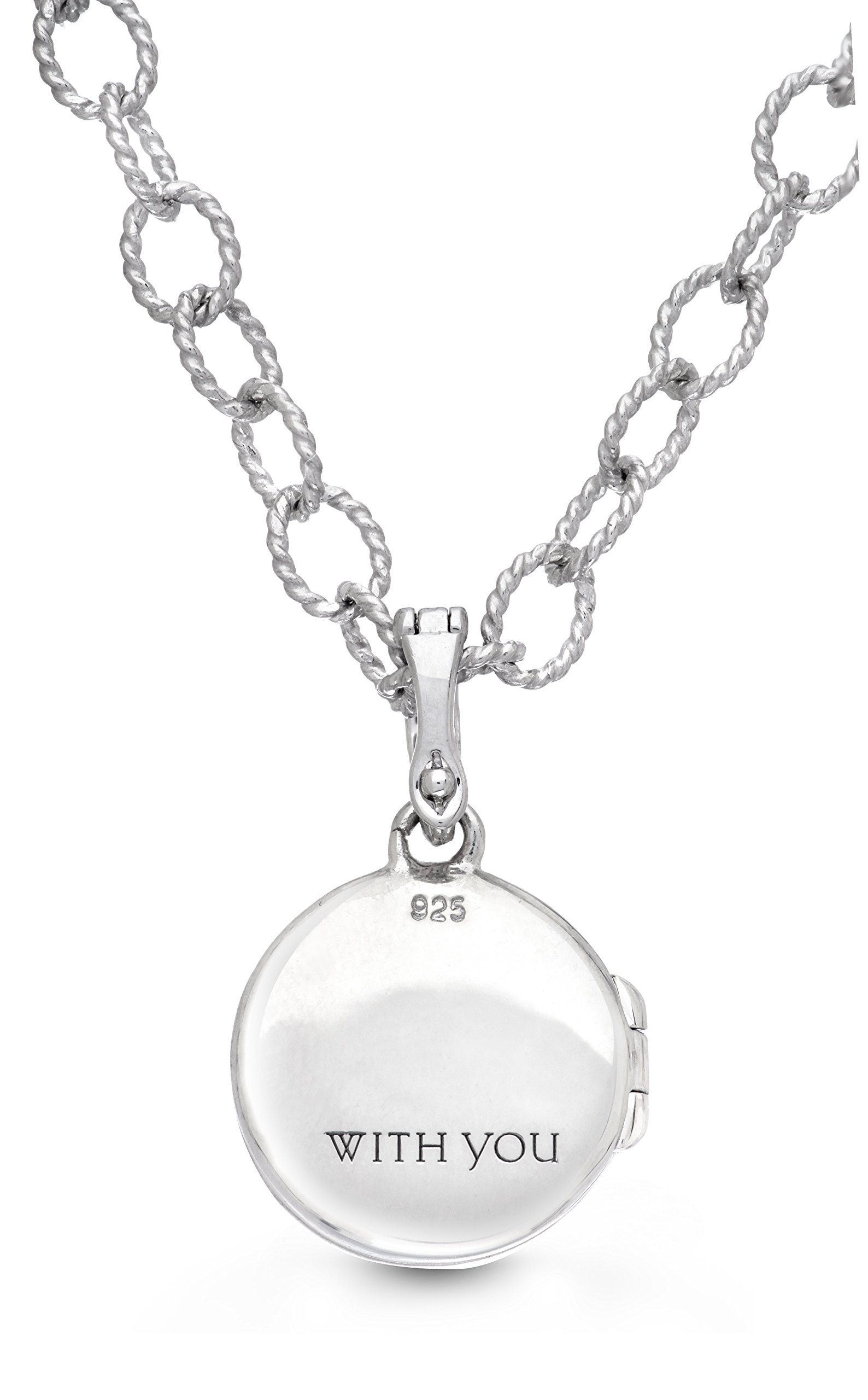 Sterling Silver Oxidized White Topaz Round Locket Bracelet/Anklet The Roxy by With You Lockets