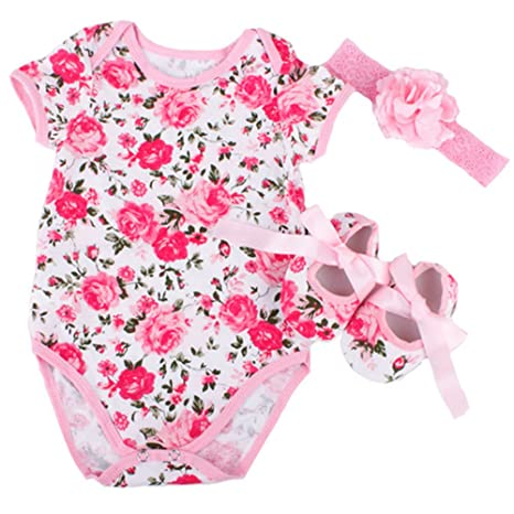 Review Rose Pattern Romper Clothes Headband Shoes Set for 20-22 Inch Reborn Newborn Baby Doll Matching Clothing Kids Birthday Toys 0-3M