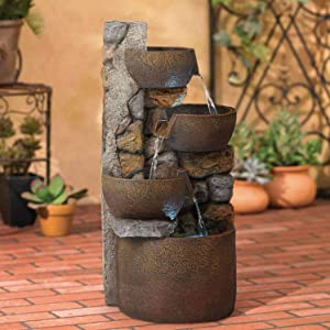 "John Timberland Ashmill Rustic Outdoor Floor Water Fountain with Light LED 29"" High Cascading Urn for Yard Garden Patio Deck Home"