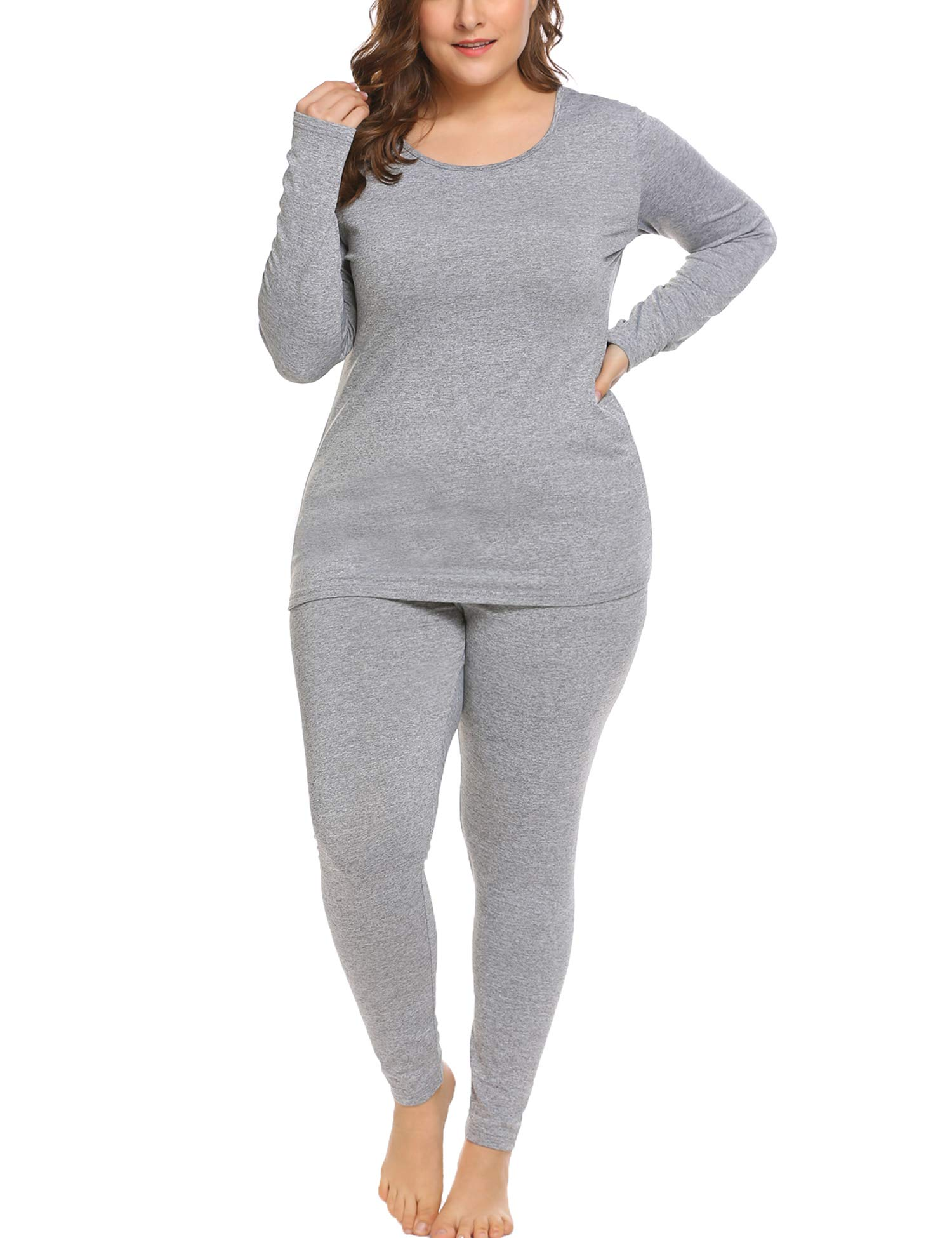 In'voland Women's Thermal Underwear Set Top & Bottom Fleece Lined Grey 24W by IN'VOLAND