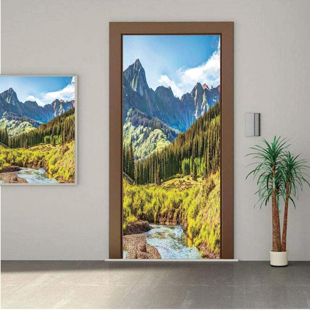 Lake House Decor Door Wall Mural Wallpaper Stickers,Mountain Vista with Thick Forest Trees Mountain Flowing River Grass Cloudy Sky Valley 30x80 Vinyl Removable Decals for Home Decoration