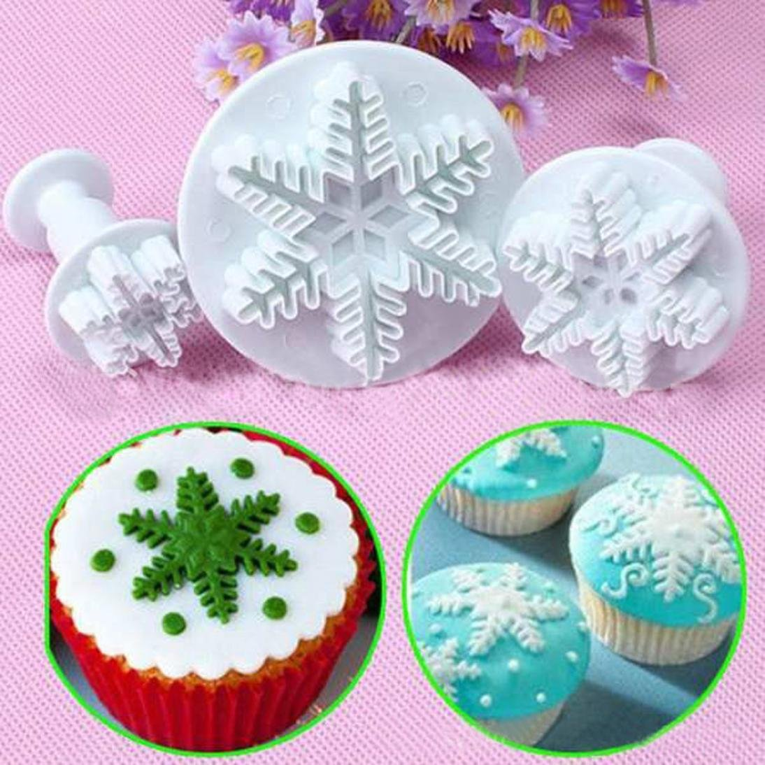 Vibola 3Pcs Snowflake Cake Decorating Fondant Plunger Cutters Mold Mould Cake Pie Slicer Cake Cutters Cookie Fondant Dessert Tools Kitchen Gadget Vibola® 155