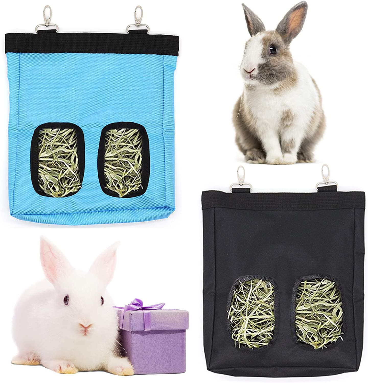 Rabbit Hay Feeder Bag, Guinea Pig Hay Feeder Storage, Chinchilla Hamsters Pet Hay Bag, Hanging Feeding Bag Hay Sack for Bunny Guinea Pig and Small Animals (Blue + Black)