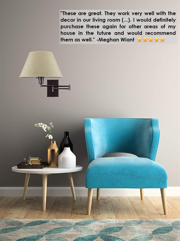 Kira Home Cambridge 13 Swing Arm Wall Lamp Latte Mocha Fabric Shade Cord Covers Plug in//Wall Mount 150W 3-Way Black Finish 2-Pack