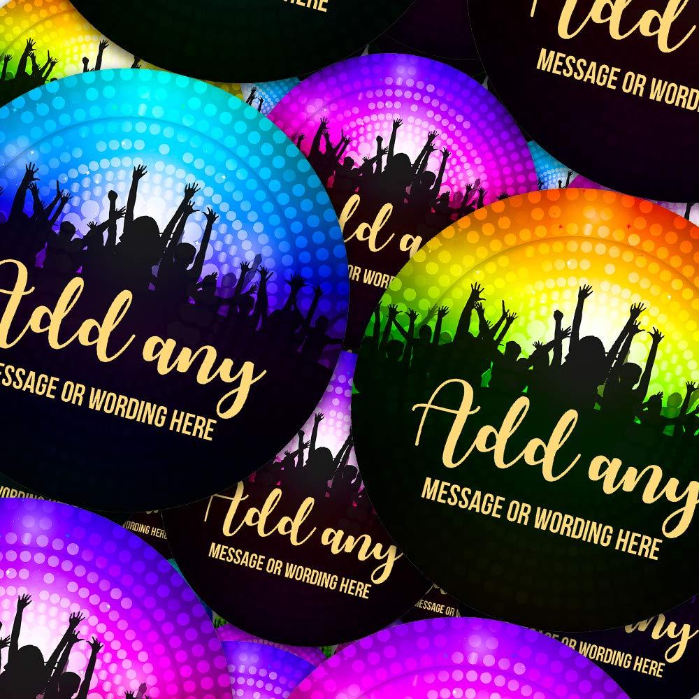 6 Stickers @ 9.5cm Custom Sticker Labels Parents Graphic Flavour Disco Dance Party Personalised Children Teachers