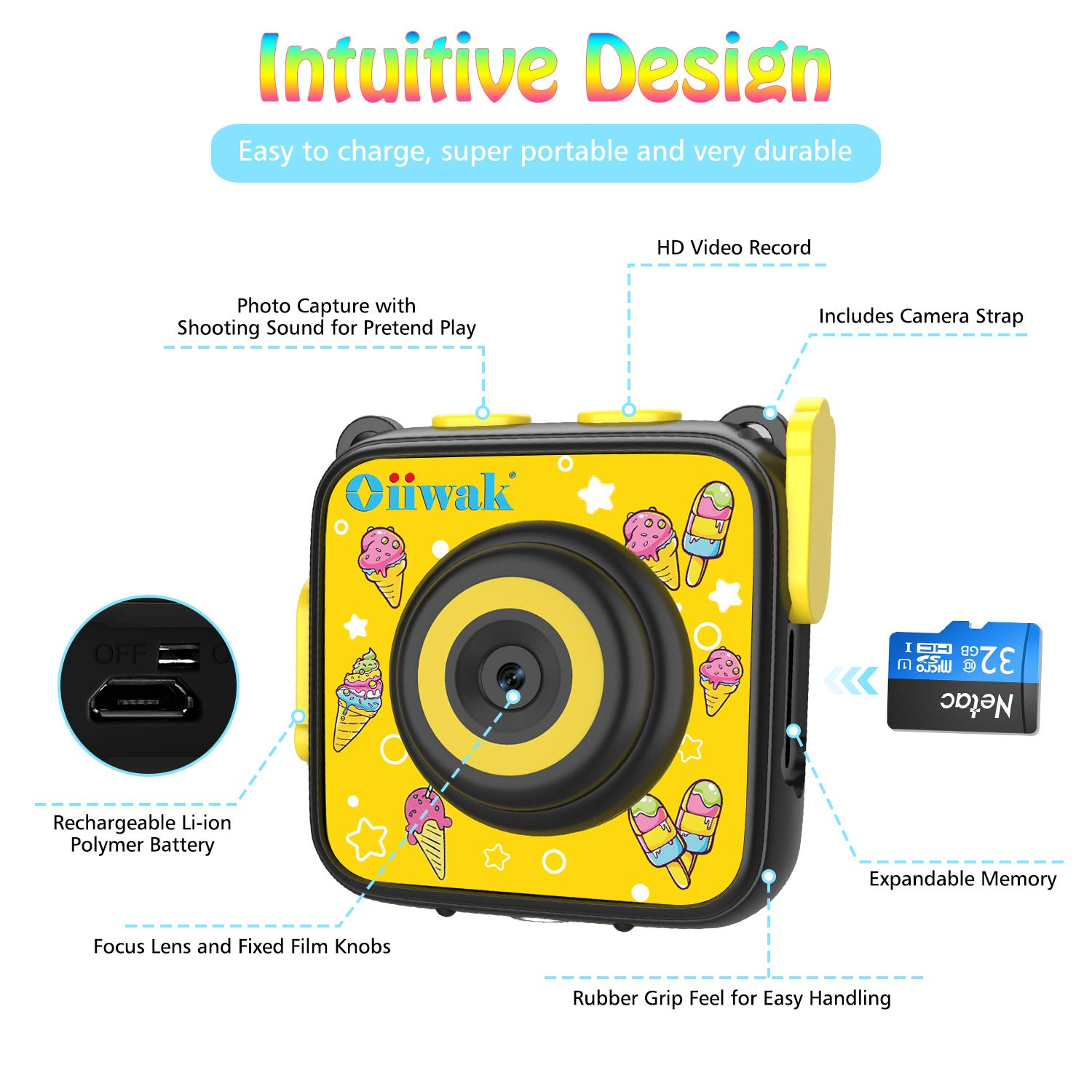 Kids Camera, Oiiwak Kids Video Camera Waterproof Toys for 3-10 Year Old Girls, 5.0 MP HD Digital Mini Camcorder for Children with 32GB Memory Card by Oiiwak (Image #6)