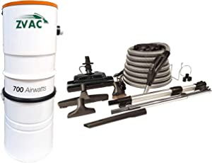 ZVac Central Vacuum System with 700 Air watts 26.5 L Tank Capacity Power Unit Vac - Model ZCVS-1 Central Cleaner with Central Vacuum Accessories Kit Electric Powerhead Nozzle ZPH-33 & 30 ft Hose