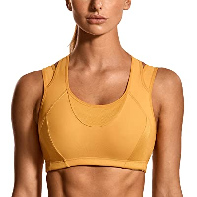 SYROKAN Women's Workout Sports Bra High Impact Support Bounce Control Wirefree Mesh Racerback Top at Women's Clothing store