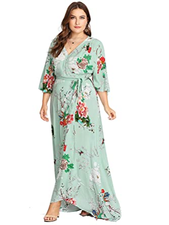 9de78589275 Milumia Plus Size Wrap Maxi Dress Empire Waist Fit Flare Party Homecoming  Beach Boho Dress Aqua