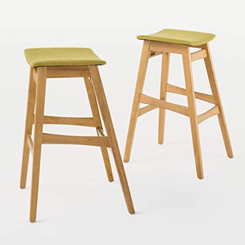 Christopher Knight Home Emmaline Fabric Oak Finish Bar Stools, 2-Pcs Set, Green Tea