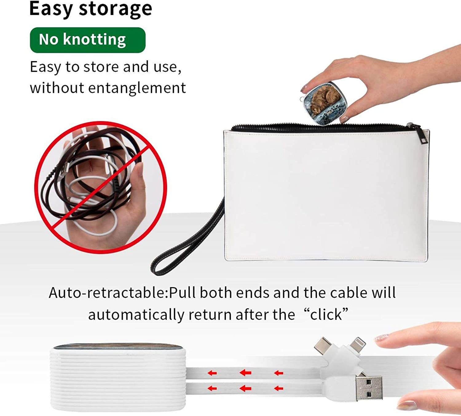 Multi Charging Cable Portable 3 in 1 The Lake House Throw Pillow USB Power Cords for Cell Phone Tablets and More Devices Charging