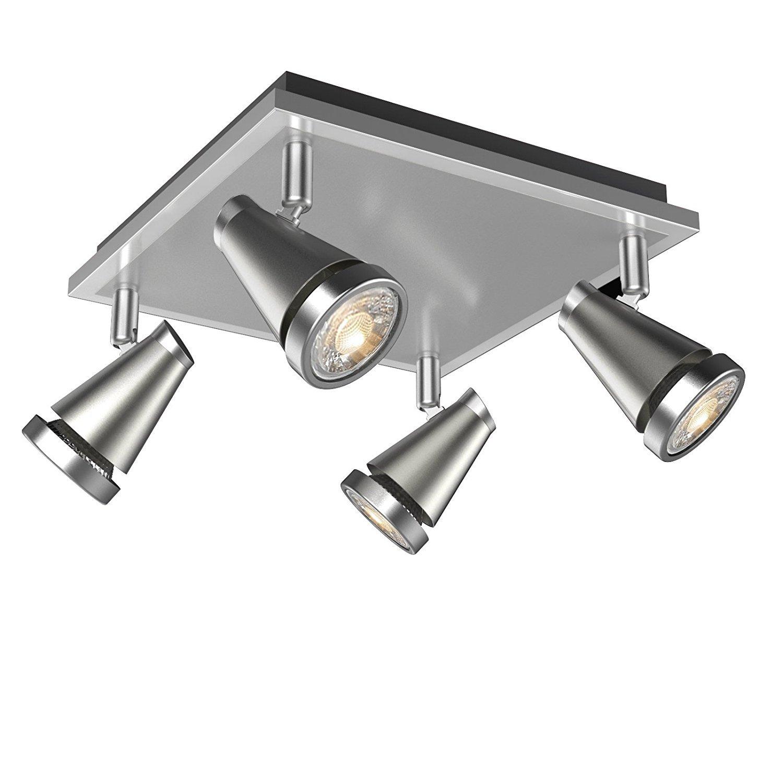 LED Deckenleuchte Schwenkbar, Ascher 4 flammig, inkl. 4er 5 W GU10 LED Leuchtmittel, 450LM,Warmweiß, Deckenstrahler/LED Deckenlampe/LED Deckenspot Warmweiß Veelicht