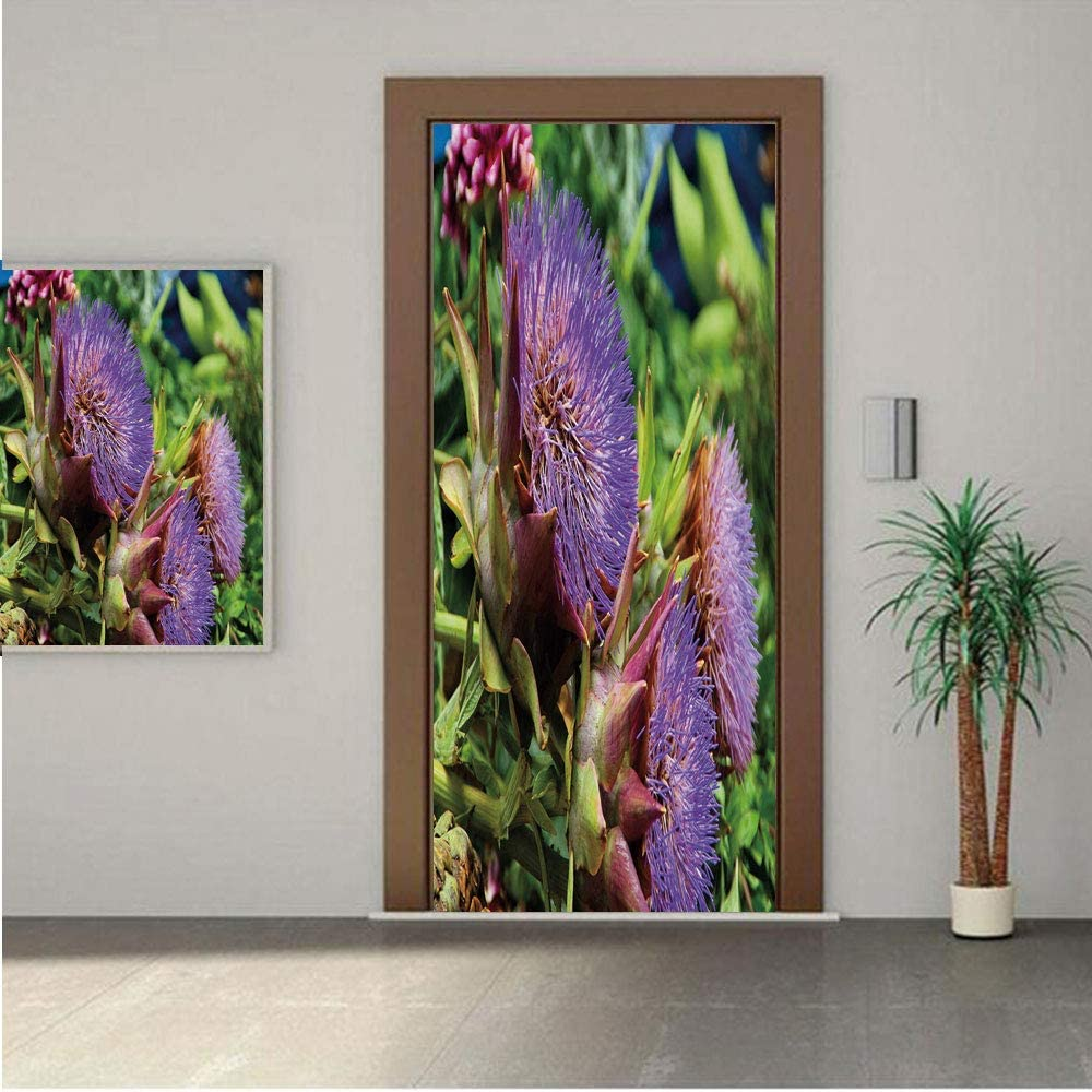 Ylljy00 Artichoke Door Wall Mural Wallpaper Stickers,Mediterranean Flora Photo with a Violet Blooming Super Food Harvest Print Decorative 28x80 Vinyl Removable Decals for Home Decoration