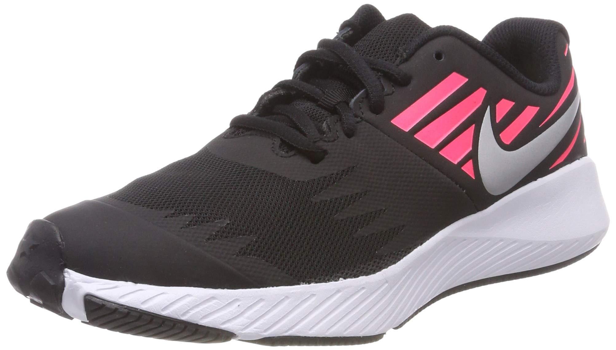 Nike Girl's Star Runner (GS) Running Shoe Black/Metallic Silver/Racer Pink/Volt Size 3.5 M US by Nike (Image #1)