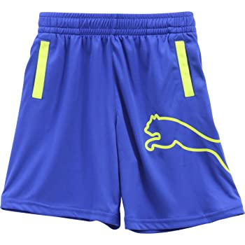 Little Boy's Outline Logo Royal Blue Elastic Waist Gym Shorts