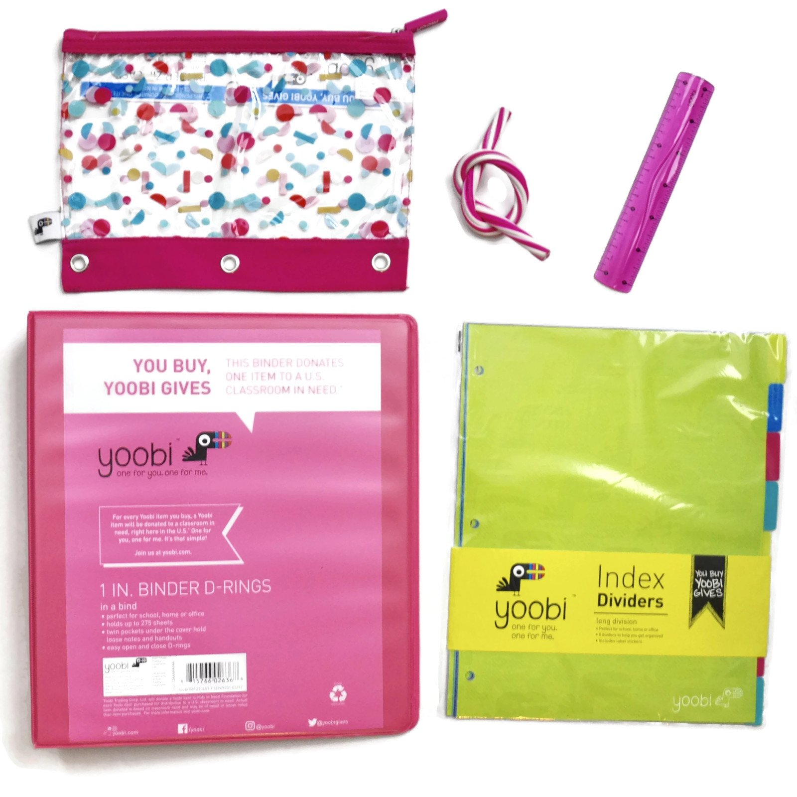 Yoobi Pink School Supply Bundle of 5 Items -1 Inch D-Ring Binder, Binder Zip Case, Eraser & Colorful 8 Tab Index Dividers by Yoobi (Image #1)