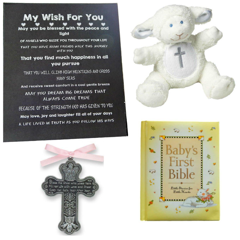 BigDream Catholic Baptism Gift for Baby Girl (Pink Cross)