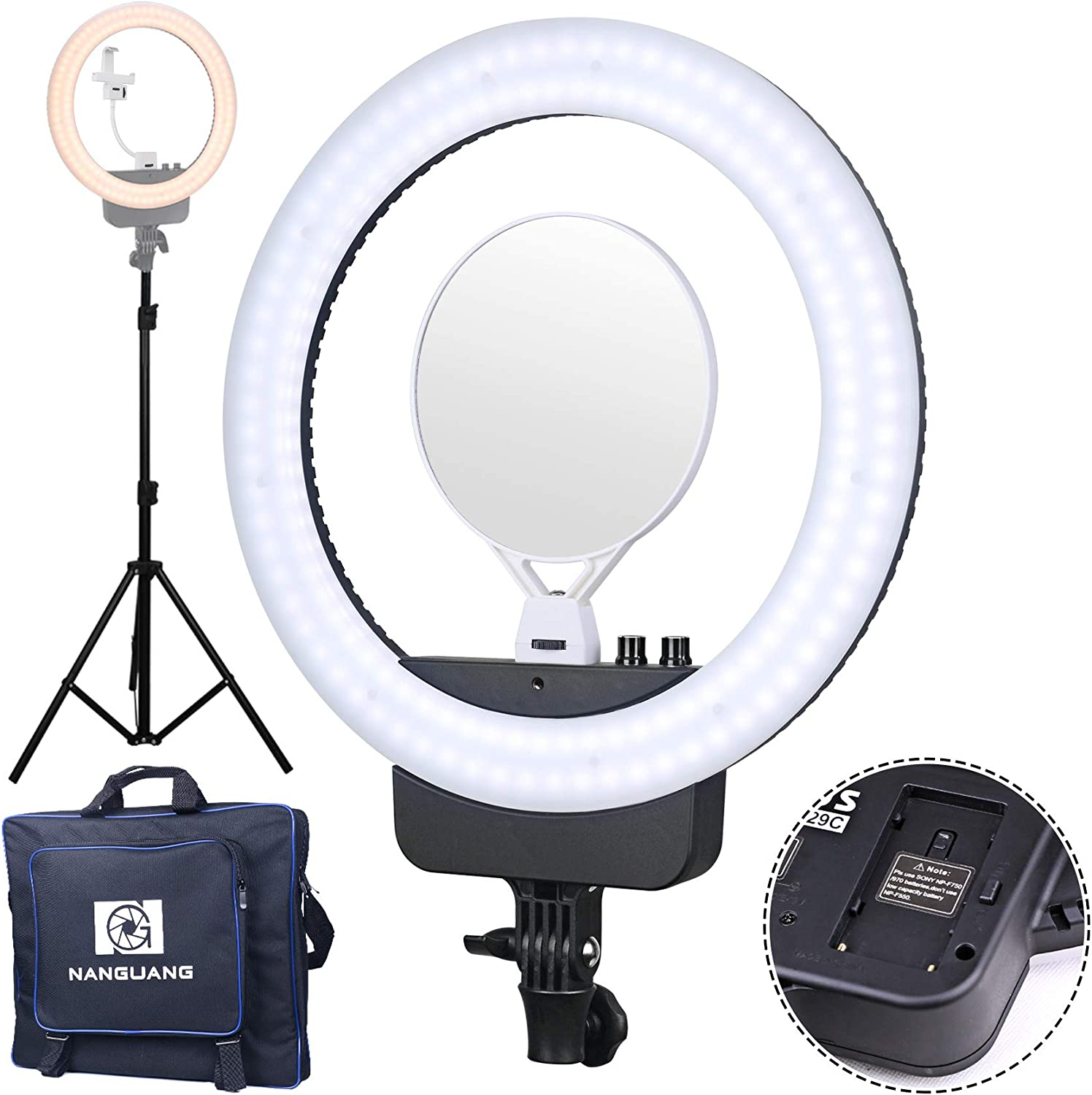 Battery Not Included NanGuang V29C 16 Bicolor LED AC//Battery Ring Light Kit with USB Power Passthrough