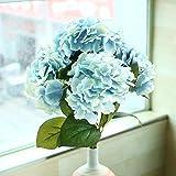 Soledì- 1 Mazzo di 5 Fiori Artificiali Ortensia, Fioritura in Seta, Bouquet Decorazione per Sposina Cerimonia Matrimonio Casa (Blu)