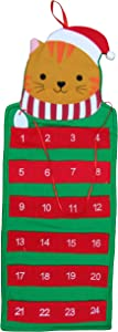 Cat Pet Advent Holiday Calendars Advent Calendar/Christmas Advent Calendar for Cats and Kittys with Pockets/Christmas Countdown with Treats/Hanging/Felt/Cat Christmas/Christmas D(Cat Advent Calendar)