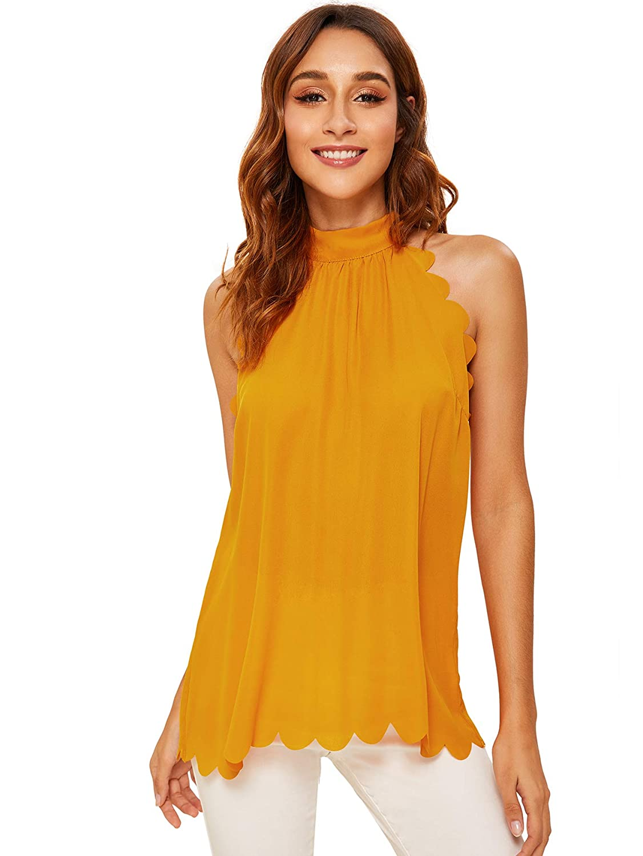 33814fbfdd5af MAKEMECHIC Women s Sleeveless Halter Neck Tank Self Tie Scallop Blouse Top  at Amazon Women s Clothing store