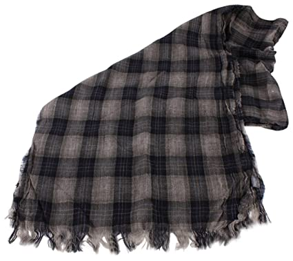 59208c4400315 Bassin and Brown Mens Hold Checked Wool Scarf - Navy/Blue/Gold at ...