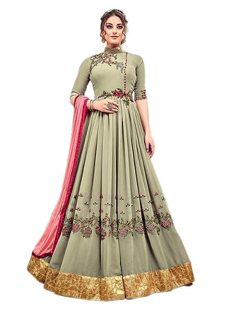 eeb1802950f Shoppingover Indian Ethnic Designer Pakistani Anarkali Bridal Dress For  Girl-Olive Green  Amazon.co.uk  Clothing