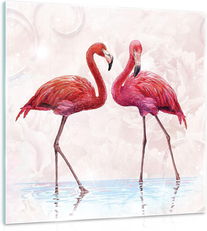 FORWALL - Cuadro de cristal para pared, diseño de flamencos, color rosa, cristal auténtico, AMF10199_GT, animales, pájaros, flamencos, flamencos, vidrio, rosa, blanco., G2 (30cm. x 30cm.)