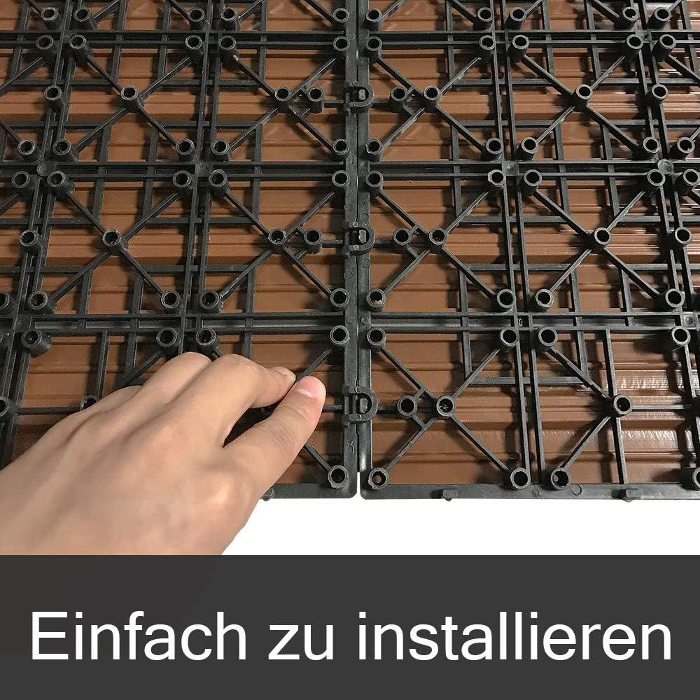 piastrelle per terrazza balcone piastrelle a clic in effetto legno Aufun piastrelle WPC in plastica 30 x 30 cm