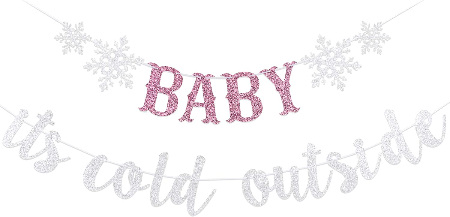 Baby It's Cold Outside Banner- Winter Wonderland Baby Shower Decorations,Winter Baby Shower Decorations,Baby It's Cold Outside Baby Shower Decorations,Christmas Party Decorations,New Years Party Decor(Silver Pink Glitter)