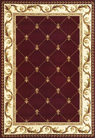 Corinthian Red Fleur De Lis Rug Rug Size: 2u00273u0026quot; ...