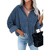 GRMLRPT Casuales Camisa para Mujer Chaqueta De Pana De Manga Larga botón Blusas Gran Tamaño Rayas Camisas con Cuello de…